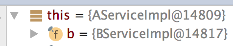BServiceImpl directly into AServiceImpl