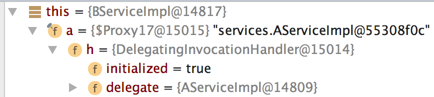 AServiceImpl proxy injected into BServiceImpl
